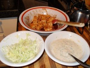 Marinated Tofu, Cilnatro Aioli, Lime Cabbage