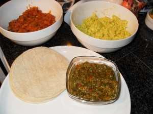 Refritos, Tofu Scramble, Salsa, Tortillas