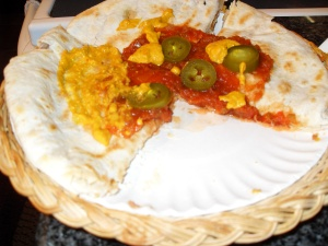 Easy quesadilla with Pepita Cheese Sauce