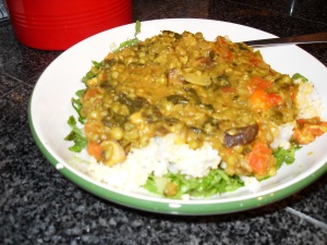 Served over shredded romaine lettuce and cooked millet and rice
