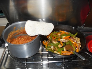 Veggie fajitas and ranch style beans