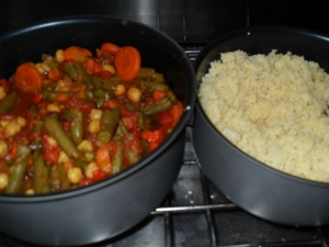 Moroccan veggies and couscous ready on the Westy stove